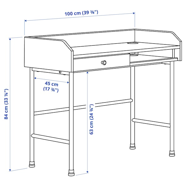 HAUGA Desk, grey, 100x45 cm