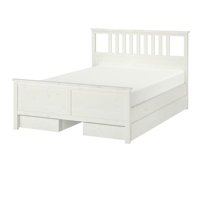 HEMNES Bed frame with 4 storage boxes, white stain/Luröy, 140x200 cm