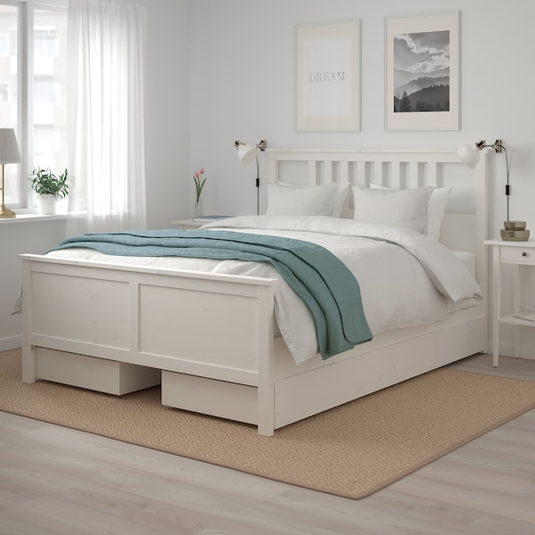 HEMNES Bed frame with 4 storage boxes, white stain/Luröy, 160x200 cm