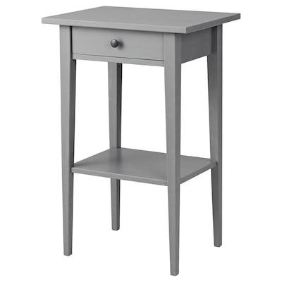 HEMNES طاولة سرير جانبية, رمادي مصبوغ, 46x35 سم