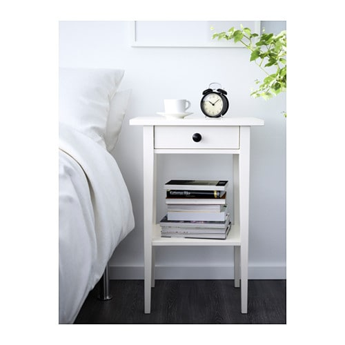 HEMNES Bedside table   Smooth running drawer with pull-out stop.  Made of solid wood, which is a hardwearing and warm natural material.