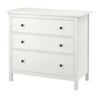 HEMNES Chest of 3 drawers, white stain, 108x96 cm