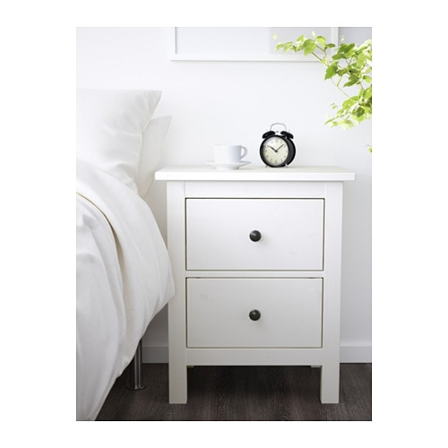 HEMNES Chest of 2 drawers   Made of solid wood, which is a hardwearing and warm natural material.  The drawer insert is perfect for small things.