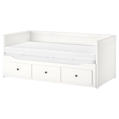 HEMNES سرير نهار بـ3 أدراج/مرتبتين, أبيض/Moshult متين., 80x200 سم