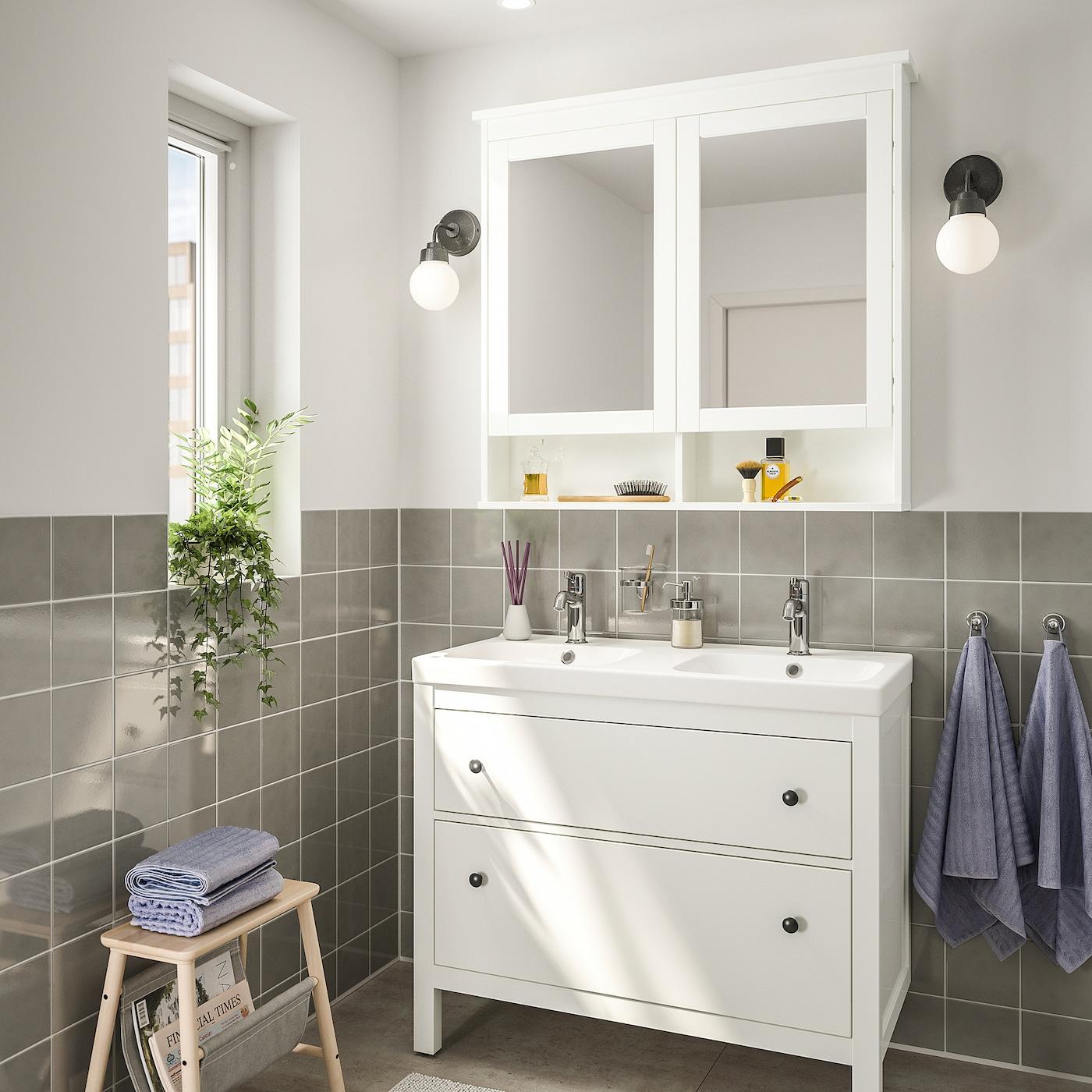 HEMNES / ODENSVIK Bathroom furniture, set of 9 - white, Voxnan tap 9 cm