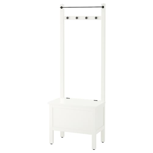 HEMNES storage bench w towel rail/4 hooks white 64 cm 37 cm 173 cm