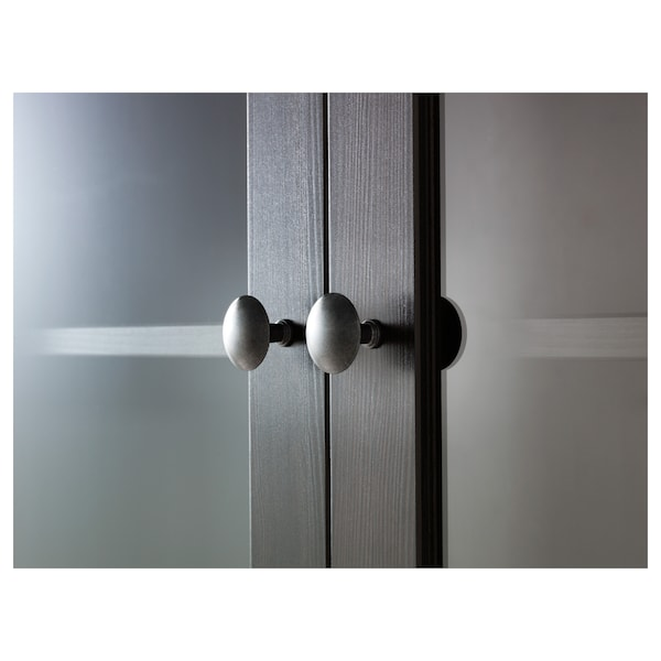 HEMNES تشكيلة تخزين مع أبواب/ أدراج, أسود-بني/زجاج شفاف, 188x197 سم