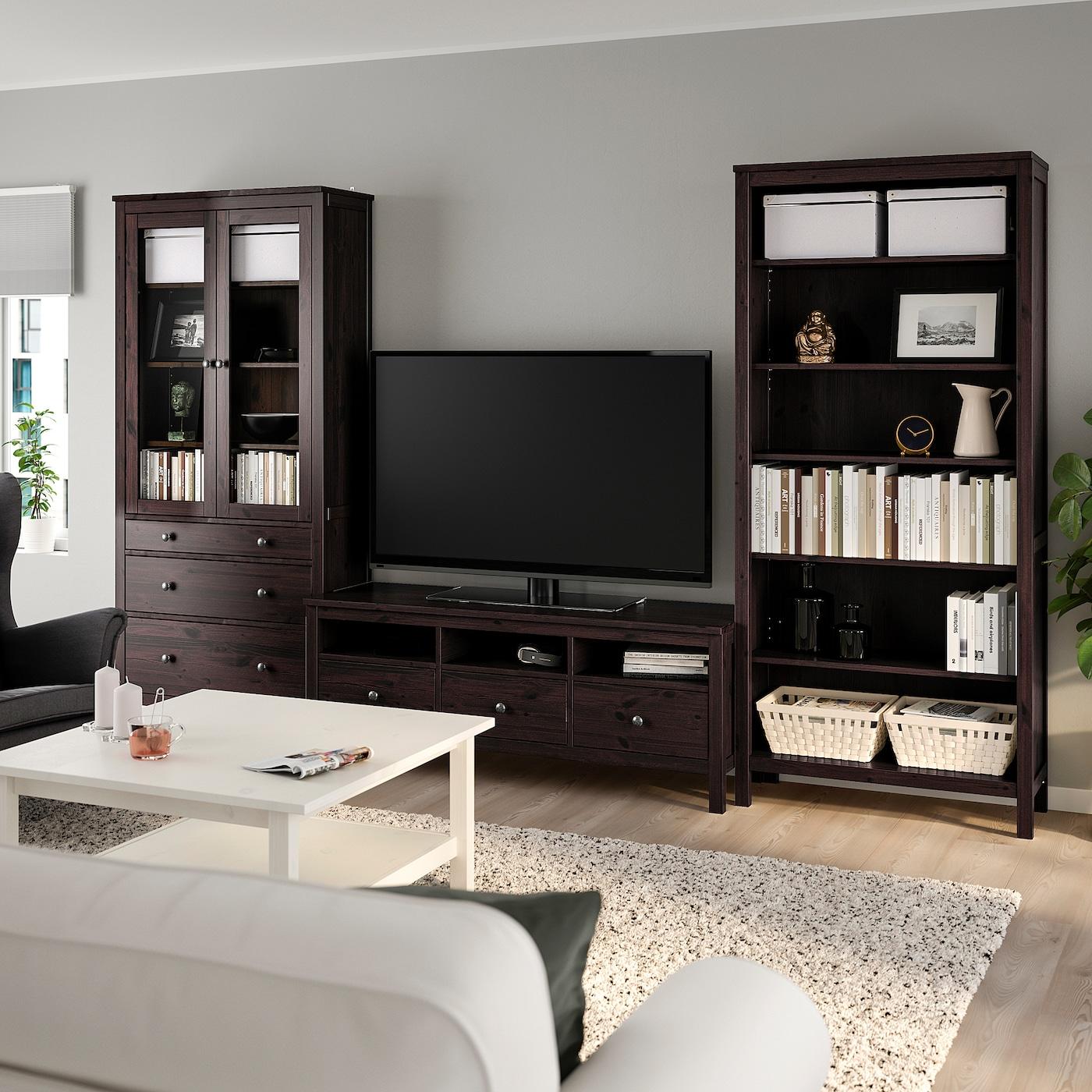 HEMNES TV storage combination - black-brown/clear glass 9x9 cm