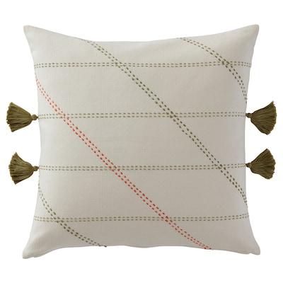 HERVOR غطاء وسادة, صناعة يدوية أبيض-عاجي, 50x50 سم
