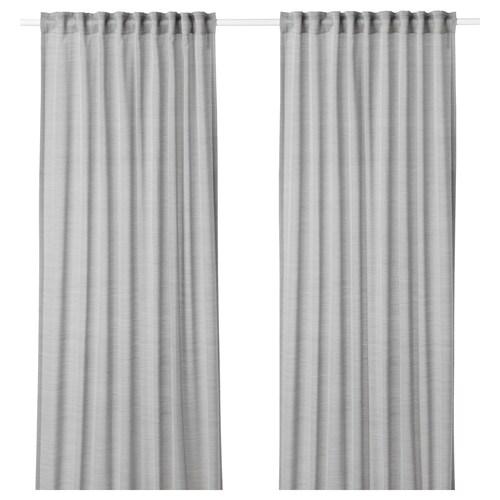 HILJA curtains, 1 pair grey 300 cm 145 cm 0.70 kg 4.35 m² 2 pack