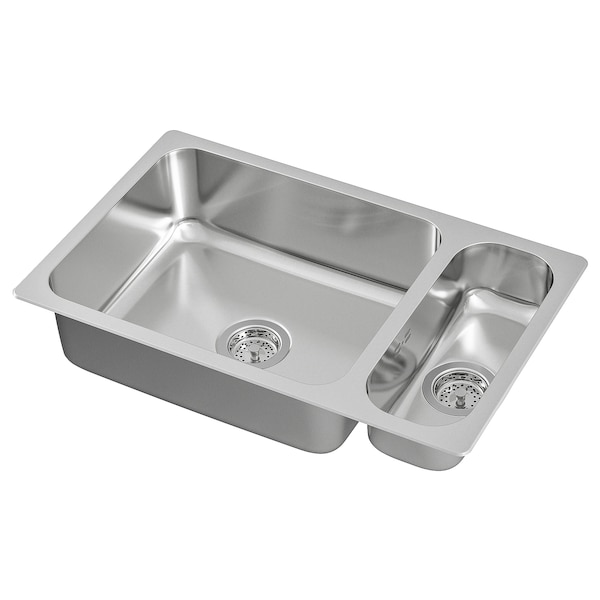 HILLESJÖN Inset sink 1 1/2 bowl, stainless steel, 75x46 cm
