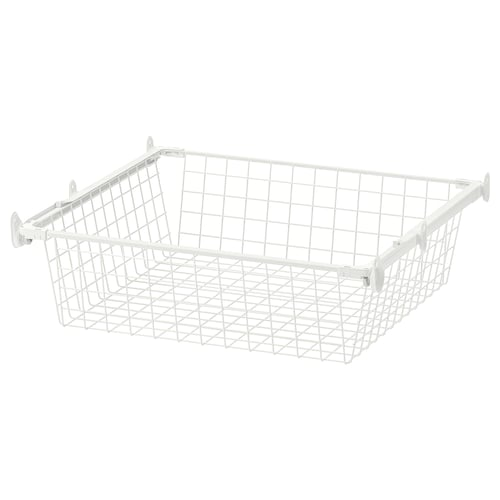 HJÄLPA wire basket with pull-out rail white 53.8 cm 60 cm 51 cm 15 cm 55 cm 7 kg