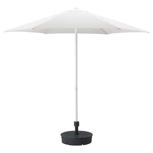 HÖGÖN parasol with base white/Grytö dark grey 170 g/m² 245 cm 270 cm 38 mm