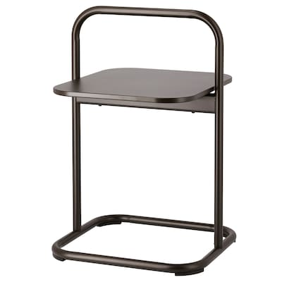 HUSARÖ Side table, outdoor, dark grey, 49x49 cm
