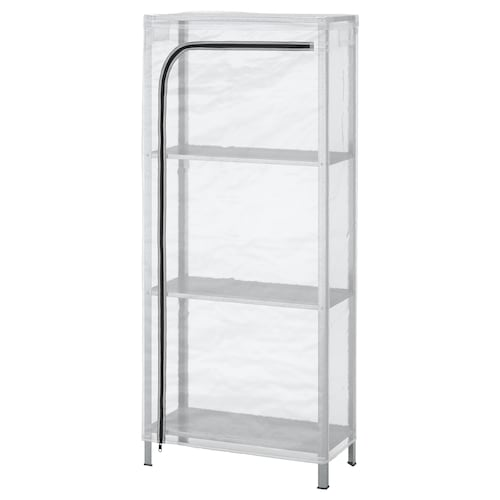 HYLLIS shelving unit with cover transparent 60 cm 27 cm 140 cm