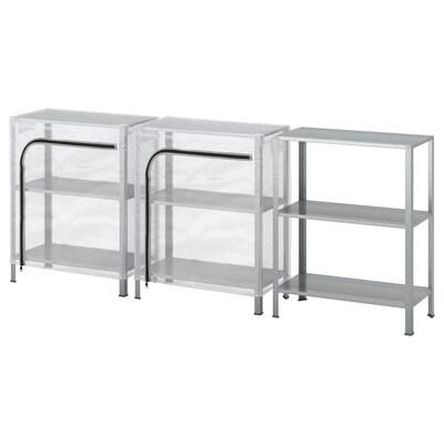 HYLLIS Shelving units with covers, transparent, 180x27x74 cm
