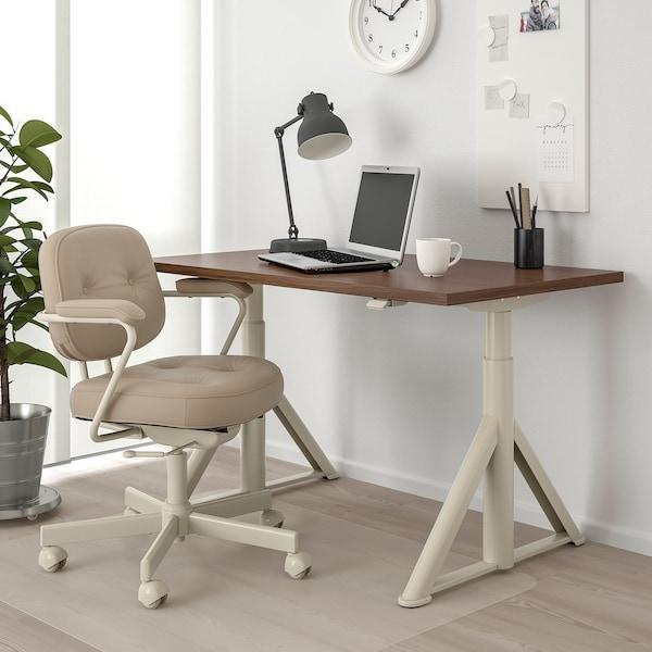 IDÅSEN desk sit/stand brown/beige 120 cm 70 cm 62 cm 127 cm 70 kg