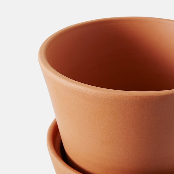 INGEFÄRA Plant pot with saucer, outdoor/terracotta, 12 cm