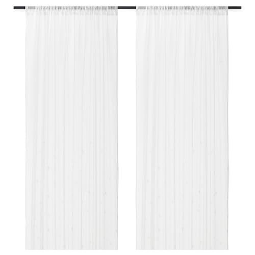 IRMALI sheer curtains, 1 pair white dots 300 cm 145 cm