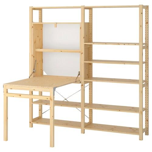 IVAR 2 sec/storage unit w foldable table pine 175 cm 179 cm 30 cm 104 cm