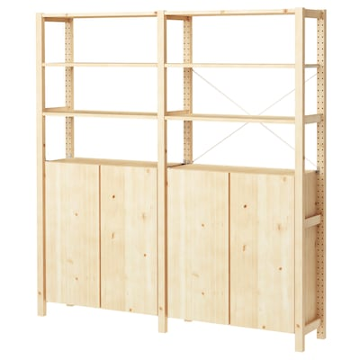 IVAR 2 sections/shelves/cabinet, pine, 174x30x179 cm