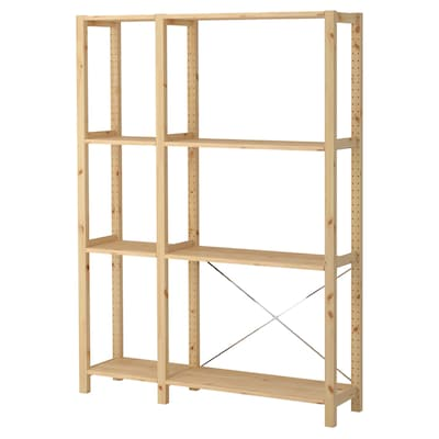 IVAR 2 sections/shelves, pine, 134x30x179 cm