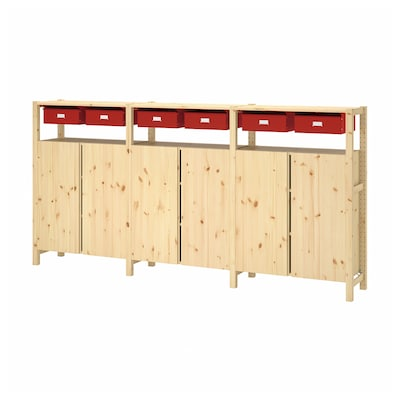 IVAR 3 sections/cabinet/shelves, pine red, 260x30x124 cm