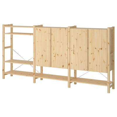 IVAR 3 sections/shelves/cabinet, pine, 259x30x124 cm