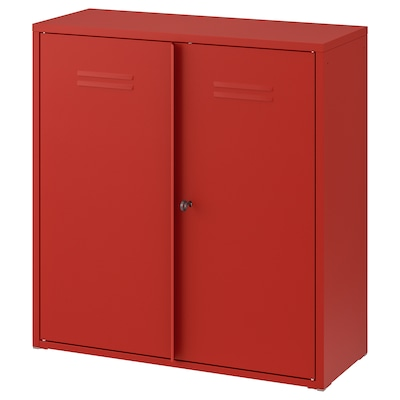 IVAR Cabinet with doors, red, 80x83 cm