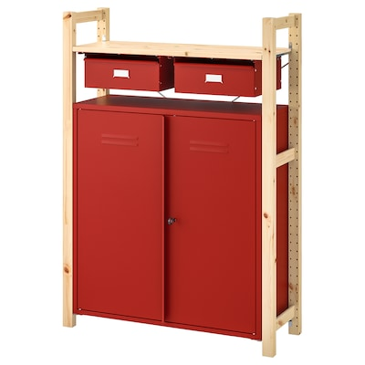 IVAR Shelving unit w cabinets/drawers, pine red, 89x30x124 cm