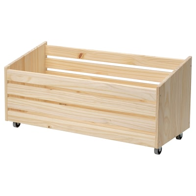 IVAR Storage box on wheels, pine, 78x30 cm