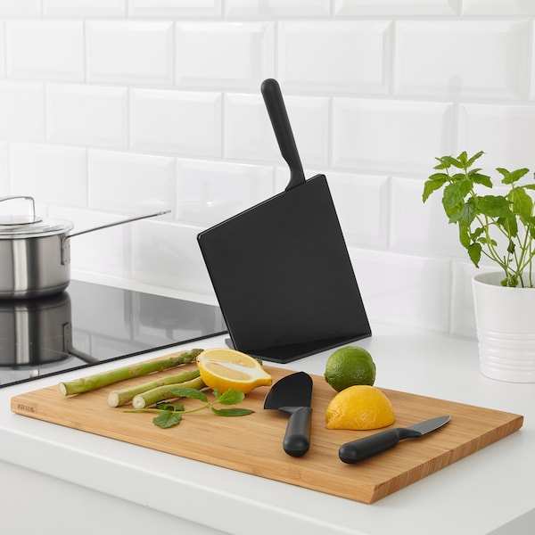 JÄMFÖRA knife block with 3 knives black 27 cm 34 cm