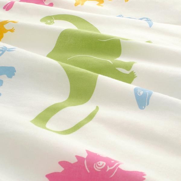 JÄTTELIK غطاء لحاف و غطاء مخدة, ديناصور/عدة ألوان, 150x200/50x80 سم
