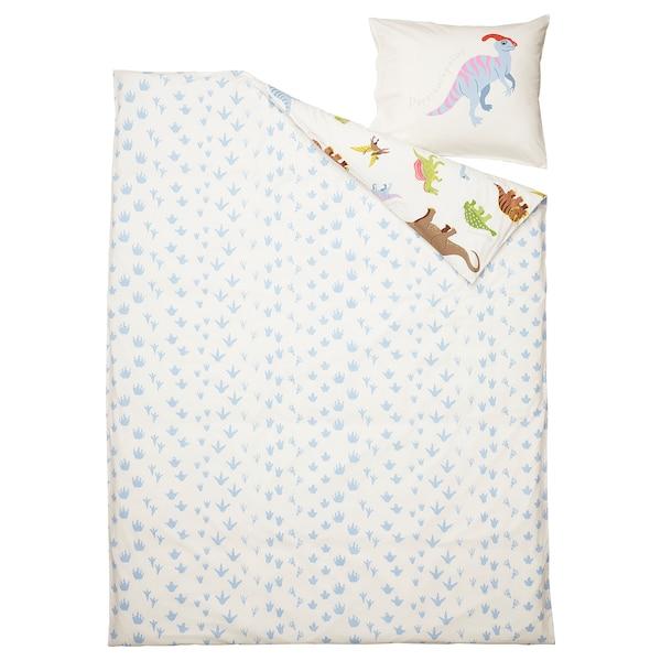 JÄTTELIK غطاء لحاف و غطاء مخدة, ديناصورات/أبيض, 150x200/50x80 سم