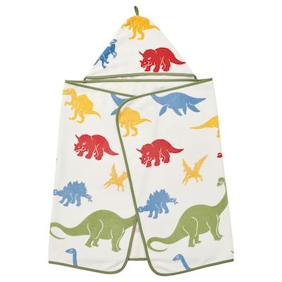 JÄTTELIK Towel with hood, dinosaur/multicolour, 140x70 cm
