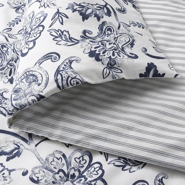 JUNIMAGNOLIA غطاء لحاف و ٢ غطاء مخدة, أبيض/أزرق غامق, 240x220/50x80 سم