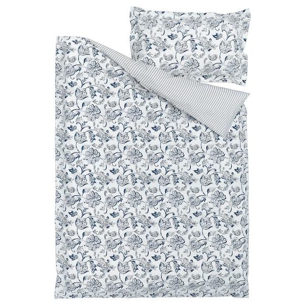 JUNIMAGNOLIA غطاء لحاف و غطاء مخدة, أبيض/أزرق غامق, 150x200/50x80 سم