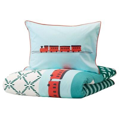 KÄPPHÄST Duvet cover and pillowcase, patchwork/toys, 150x200/50x80 cm