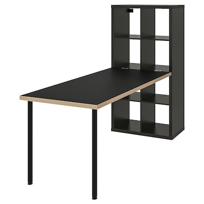 KALLAX Desk combination, black-brown/plywood, 77x147x189 cm