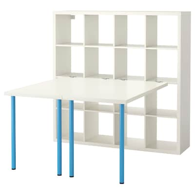 KALLAX Desk combination, white/blue, 147x147x159 cm