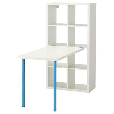 KALLAX Desk combination, white/blue, 77x147x159 cm