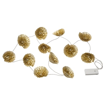 KARISMATISK LED lighting chain with 12 lights, indoor/battery-operated gold-colour