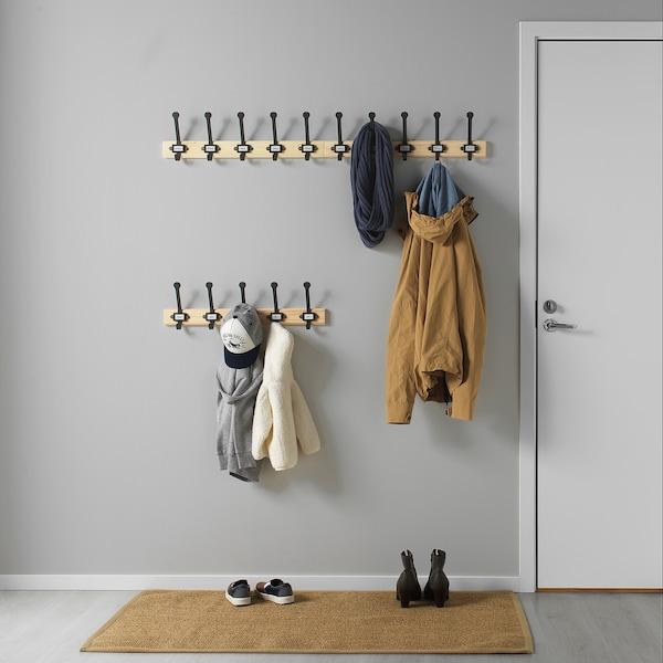 KARTOTEK Rack with 5 hooks, pine/grey
