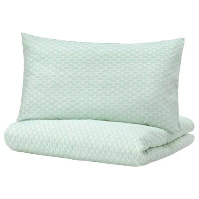KASKADGRAN غطاء لحاف/2كيس مخدة, أبيض/تركواز فاتح, 240x220/50x80 سم