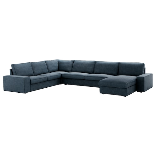 KIVIK corner sofa, 6-seat with chaise longue/Hillared dark blue 163 cm 83 cm 124 cm 387 cm 257 cm 24 cm 60 cm 45 cm