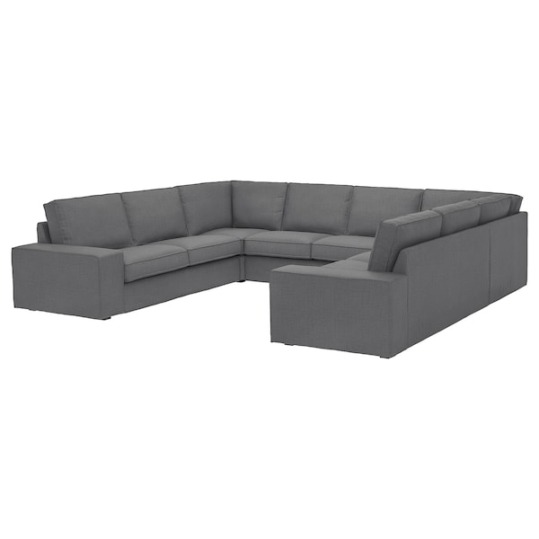 KIVIK U-shaped sofa, 6 seat, Skiftebo dark grey