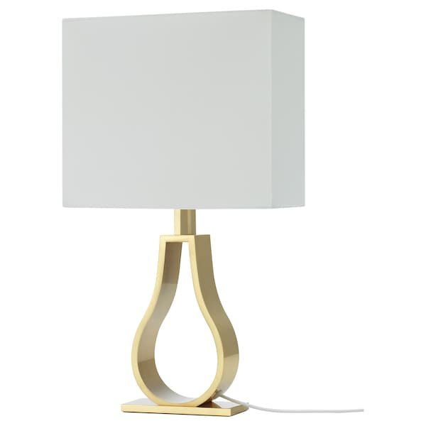 Klabb Table Lamp Off White Brass Colour Ikea