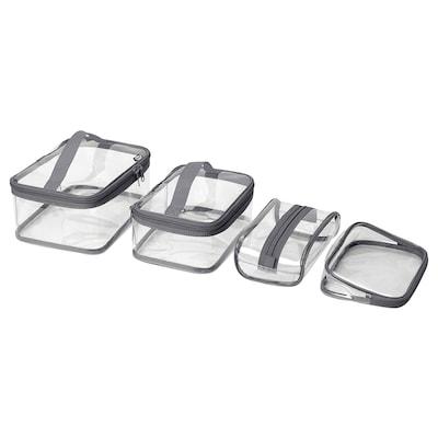 KLUDDARE حقيبة أدوات الزينة، طقم من 4, شفاف
