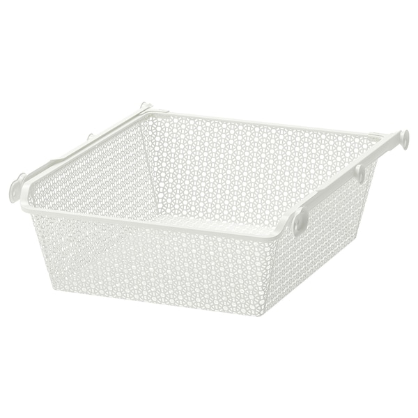 KOMPLEMENT Metal basket with pull-out rail, white, 50x58 cm