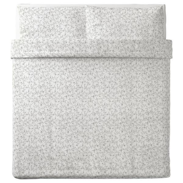 KOPPARRANKA quilt cover and 2 pillowcases white/dark grey 152 /inch² 2 pack 220 cm 240 cm 50 cm 80 cm
